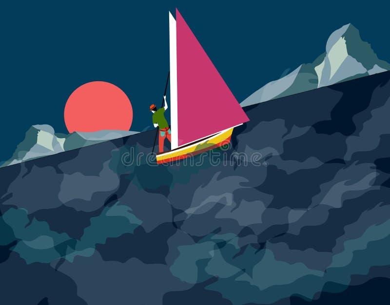 Navegación del hombre en una noche tempestuosa stock de ilustración