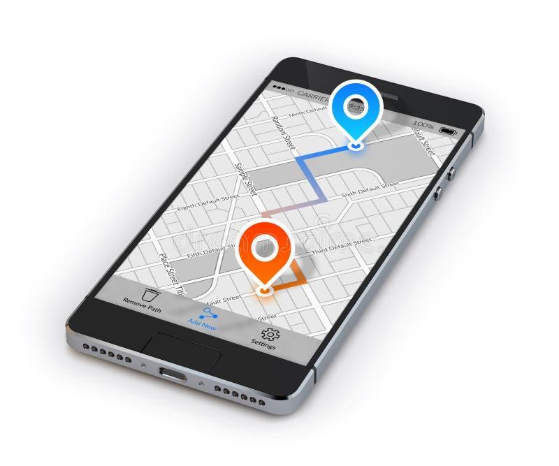 Navegación del móvil de Smartphone stock de ilustración