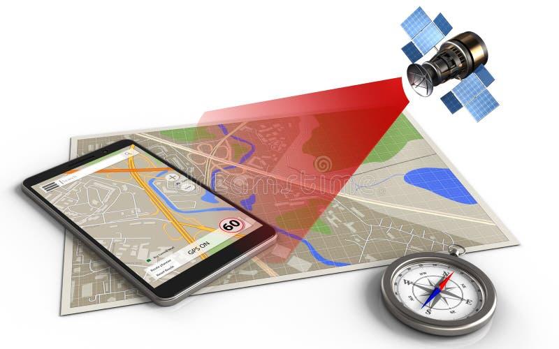 navegación del teléfono 3d ilustración del vector