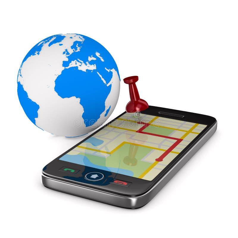 Navegación en teléfono stock de ilustración