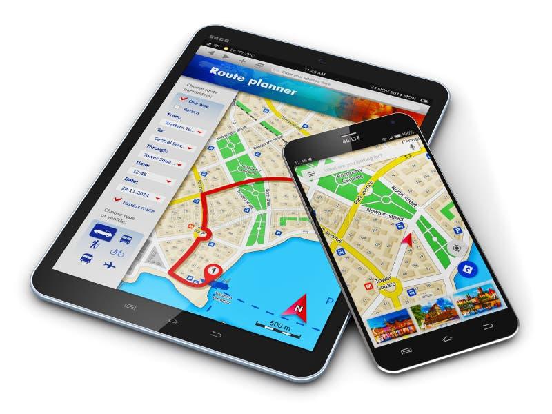 Navegación GPS en los dispositivos móviles ilustración del vector