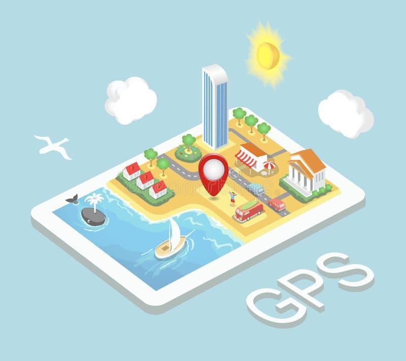 Navegación GPS móvil del mapa plano, Infographic stock de ilustración