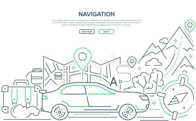 Navegación - línea moderna bandera de la web del estilo del diseño stock de ilustración