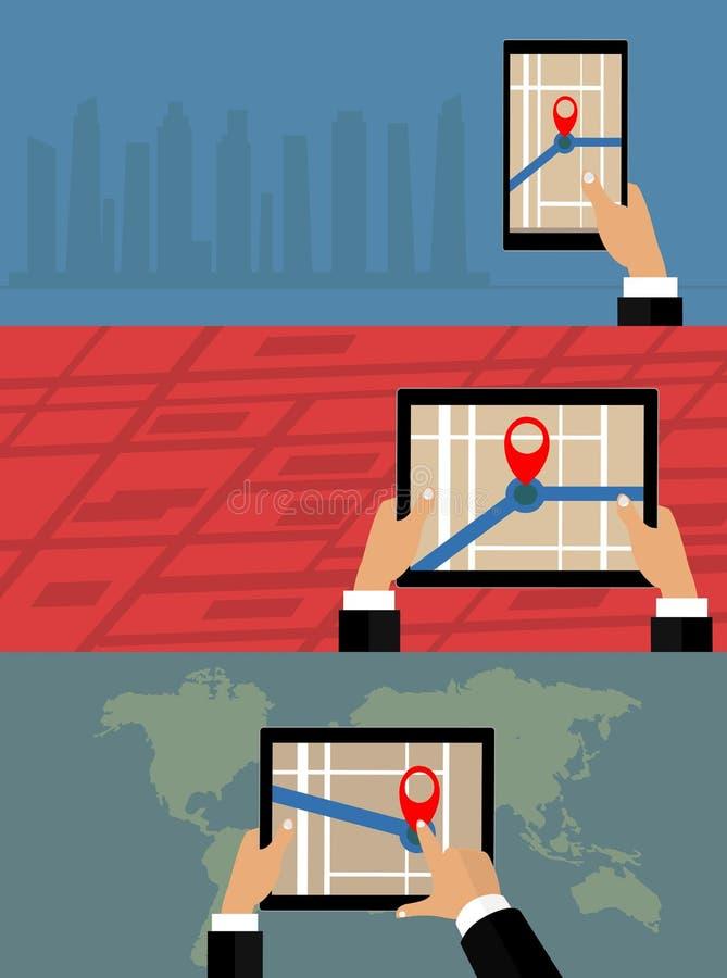 Navegación móvil de los gps en el teléfono móvil con el mapa ilustración del vector