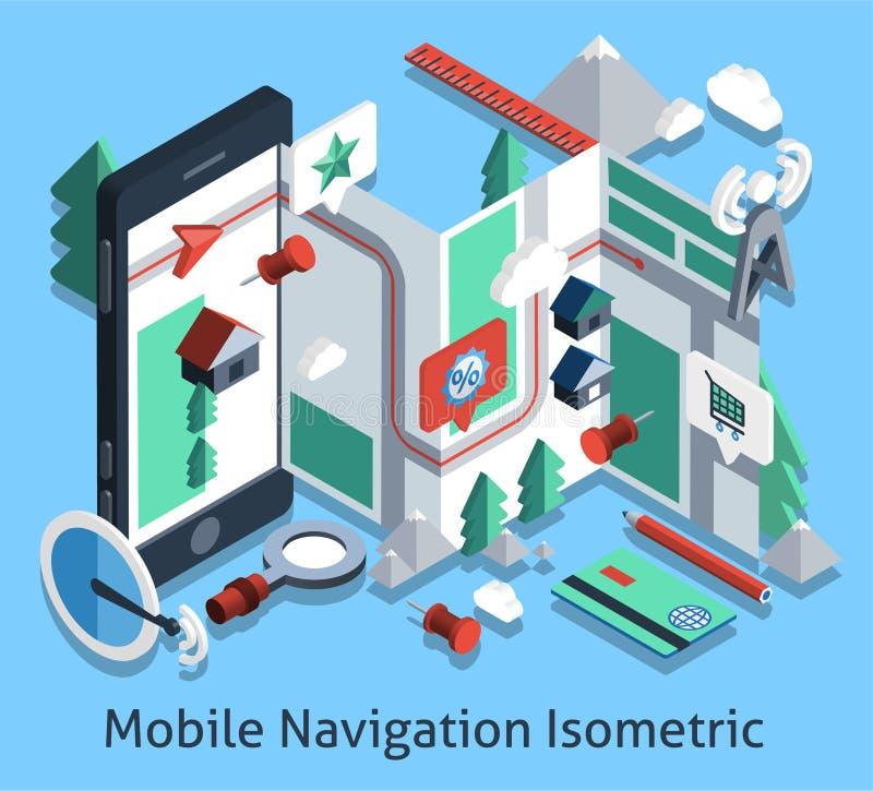 Navegación móvil isométrica libre illustration
