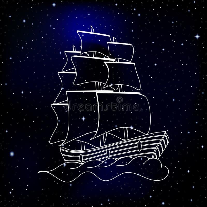 Navegación manuscrita de la nave del vector a través del cielo estrellado en espacio profundo stock de ilustración