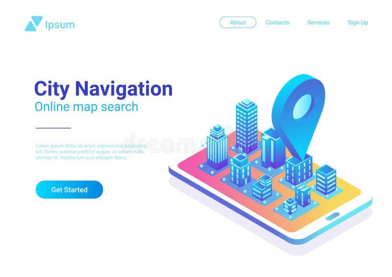 Navegación plana isométrica del teléfono móvil del mapa de la ciudad 3D ilustración del vector