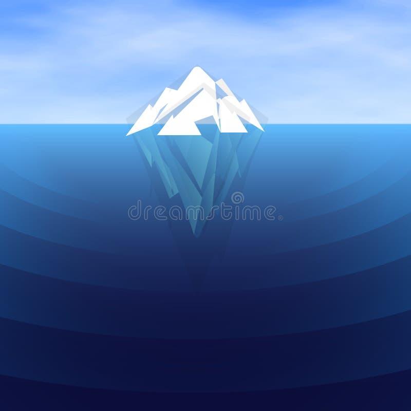 Navegación poligonal blanca del iceberg, ejemplo del vector Submarino y overwater stock de ilustración