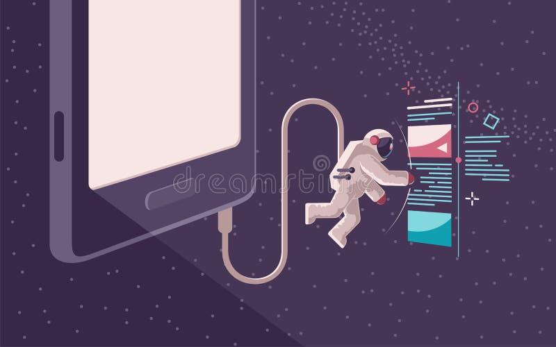 Navegación por Internet en espacio abierto usando un artilugio ilustración del vector