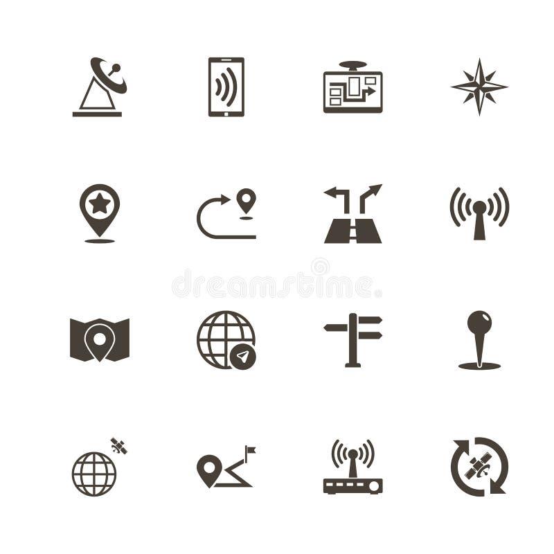 Navegación por satélite - iconos planos del vector stock de ilustración