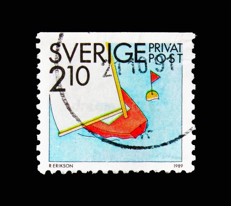 Navegación, sellos de la rebaja - serie de las actividades del verano, circa 1989 foto de archivo