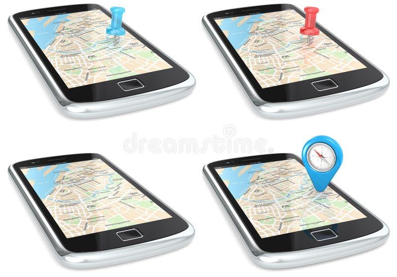 Navegación vía Smartphone. stock de ilustración