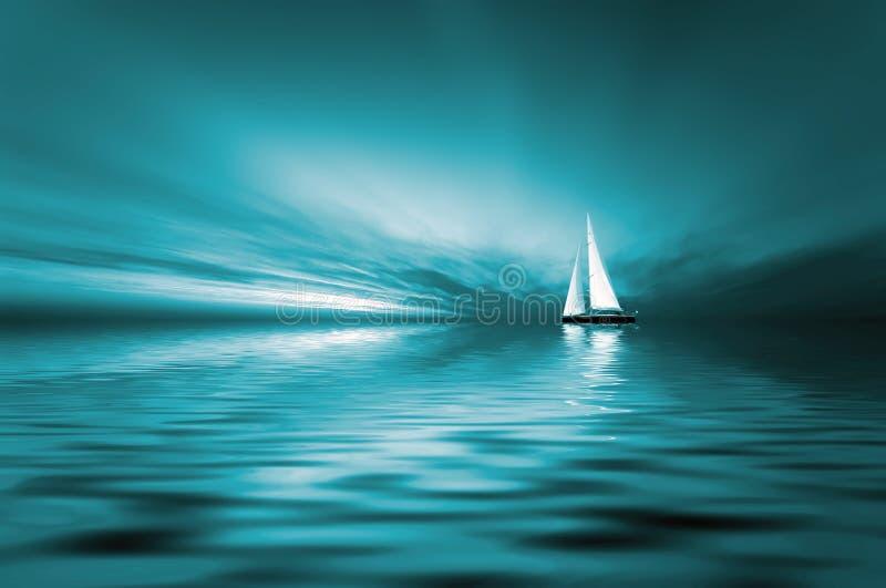 Navegación y puesta del sol libre illustration