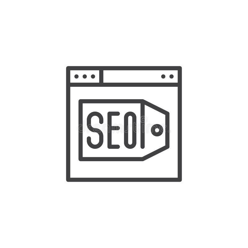 Navegador con el icono del esquema de la optimización del contenido de SEO ilustración del vector