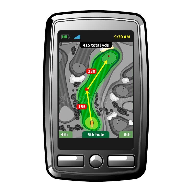 Navegador de GPS del golf stock de ilustración