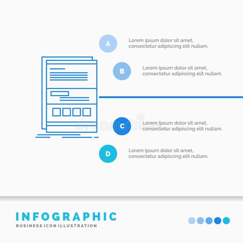 Navegador, din?mica, Internet, p?gina, molde responsivo de Infographics para o Web site e apresenta??o Linha estilo infographic d ilustração royalty free
