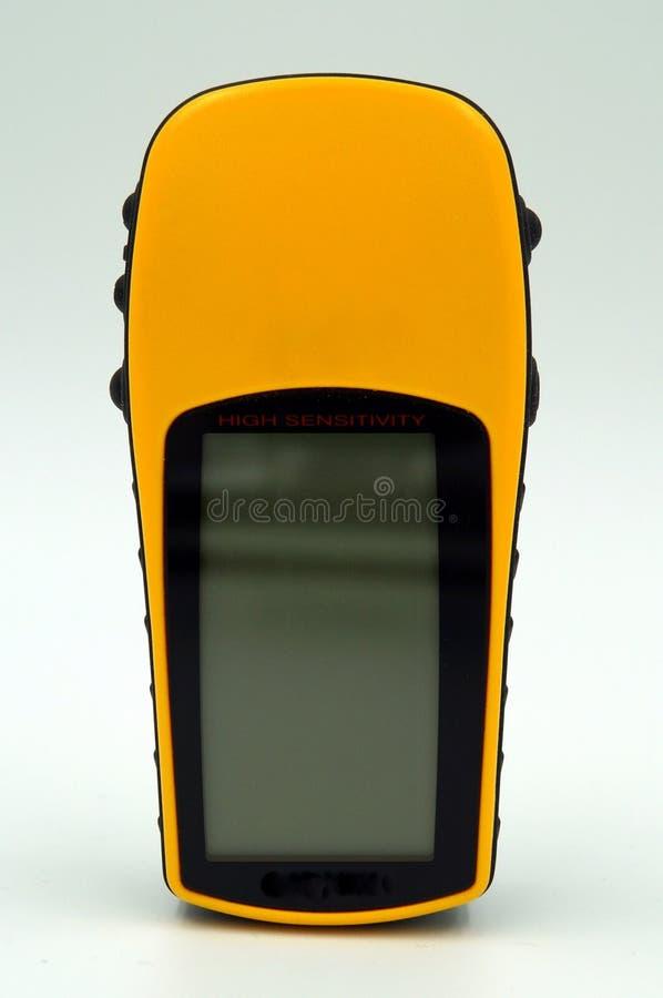 Navegador handheld amarelo de GPS foto de stock