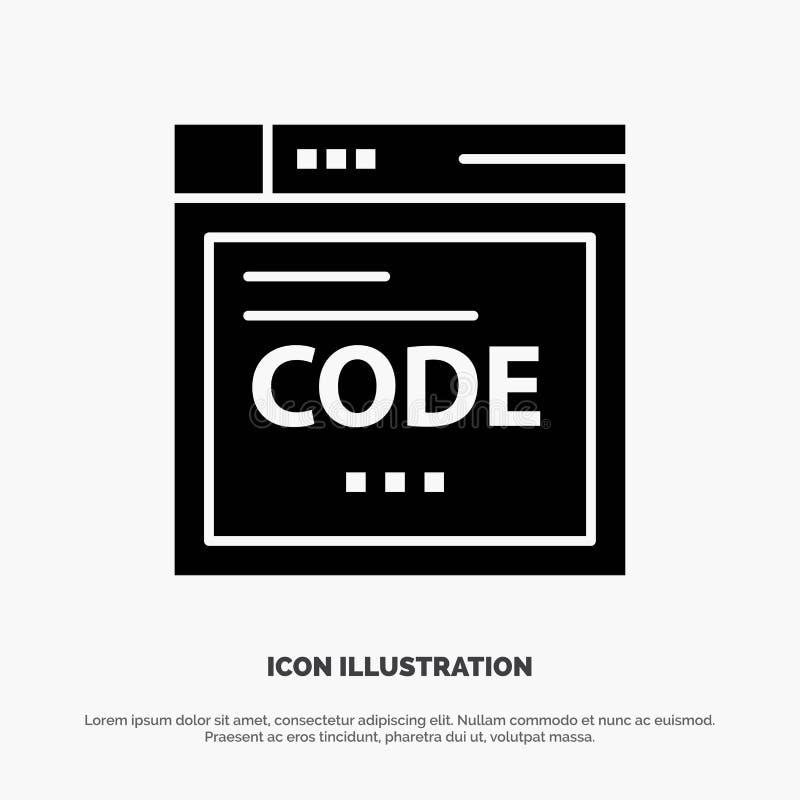 Navegador, Internet, código, codificando o ícone preto contínuo do Glyph ilustração royalty free