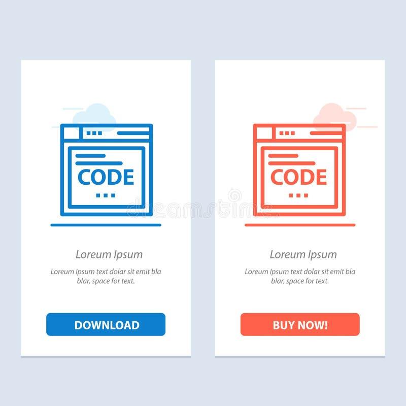 Navegador, Internet, código, codificando a transferência azul e vermelha e para comprar agora o molde do cartão do Widget da Web ilustração royalty free