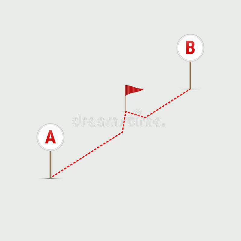 Navegador Pin Checking Point A de GPS para señalar B Encamine del punto A para señalar B Ilustración del vector ilustración del vector