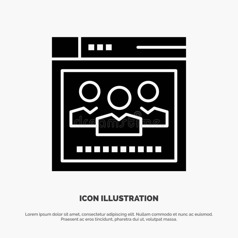 Navegador, rede, Web, ícone preto contínuo do Glyph da educação ilustração stock