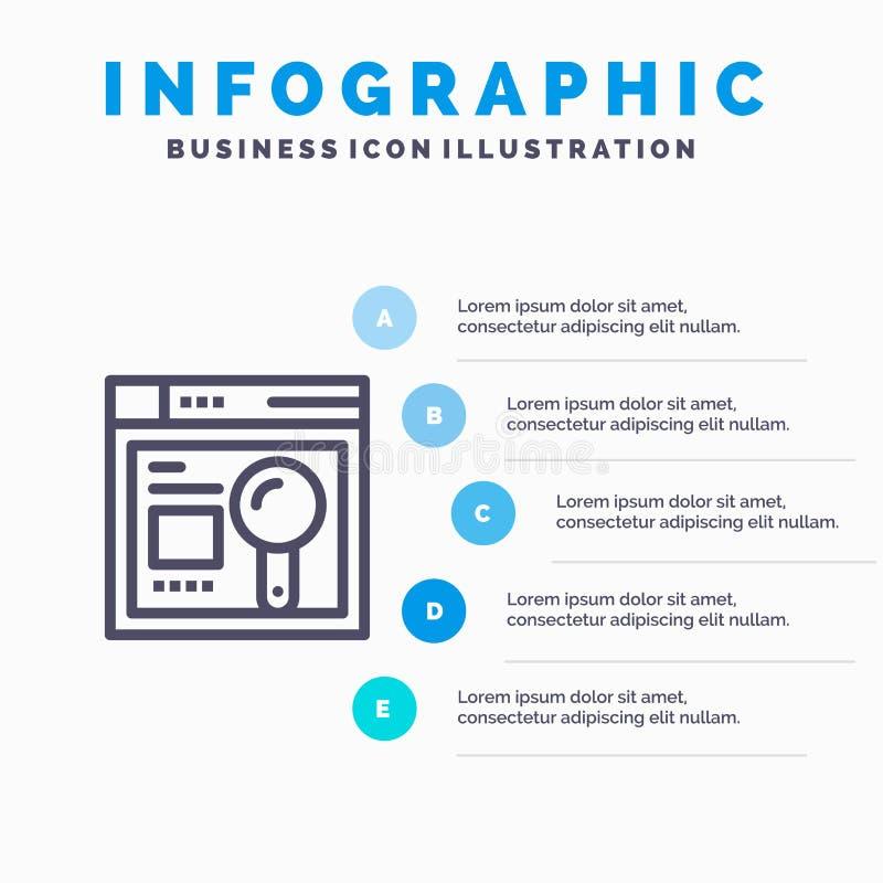 Navegador, web, búsqueda, pasos azules de la plantilla 5 de Infographics de la educación L?nea plantilla del vector del icono libre illustration