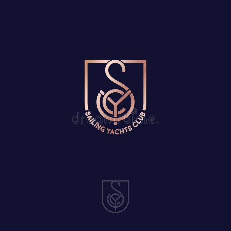 Navegando o clube de iate S, Y, monograma de C consiste em linhas do ouro, em um protetor ilustração do vetor