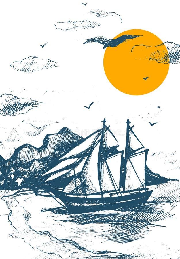 Navegando o vetor do esboço da silhueta do iate de iate do mar ilustração tirada mão do Navigação-navio Regata que compete no mar ilustração royalty free