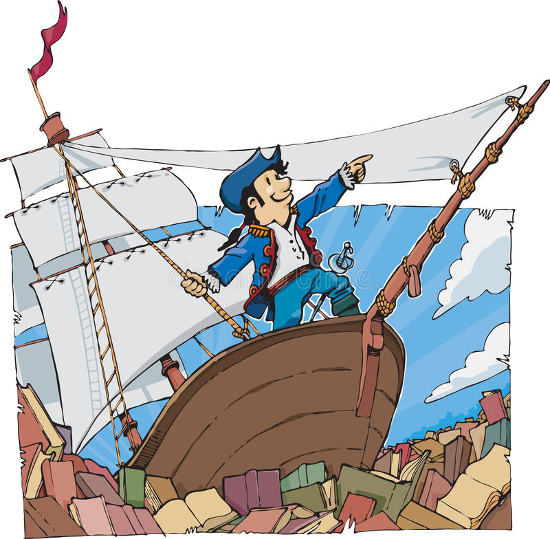 Navegue em um mar completamente dos livros ilustração royalty free