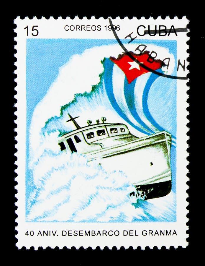 Navegue Granma, fuerzas armadas de arma del revolucionario, 40.o serie del anniv, circ fotografía de archivo