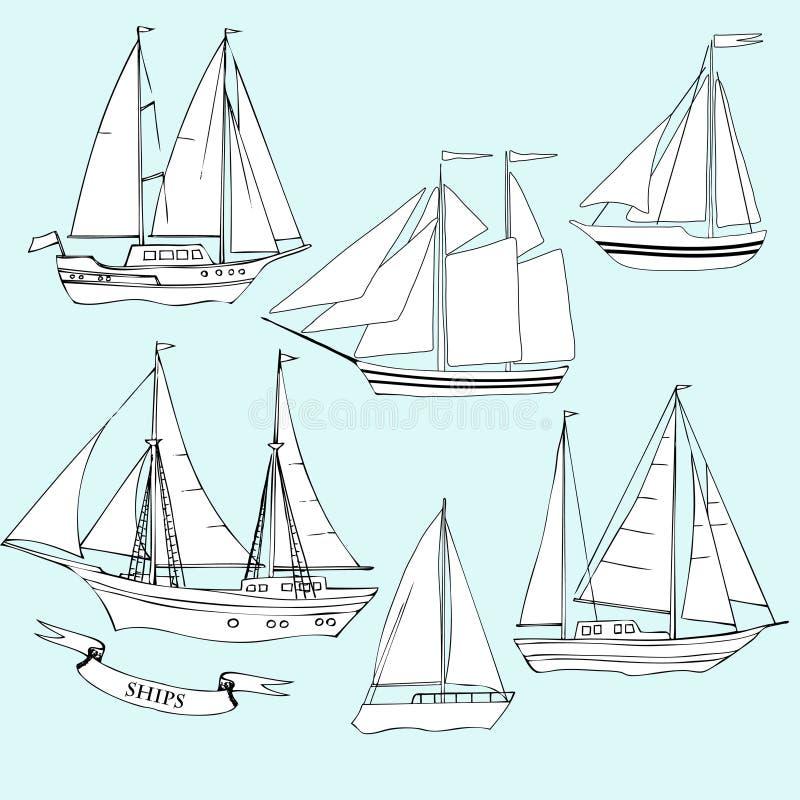 naves Conjunto de bosquejos stock de ilustración