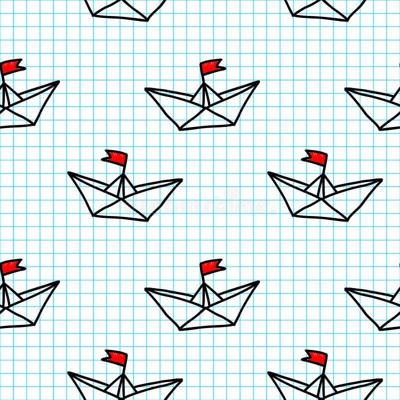 Naves de papel exhaustas de la mano en el modelo inconsútil del vector del fondo a cuadros de la hoja de papel libre illustration