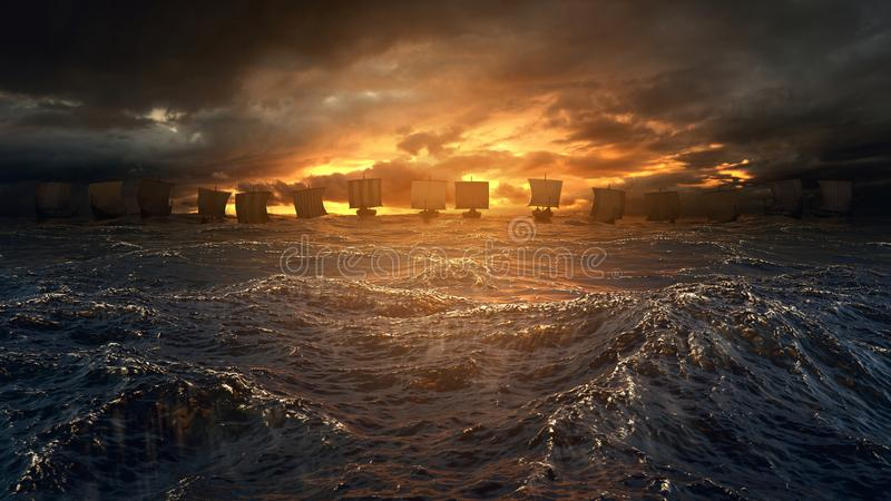 Naves de Vikingos debajo de la tormenta fotos de archivo libres de regalías