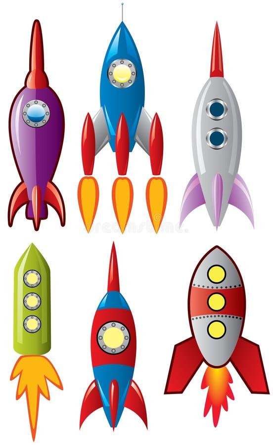 Naves del cohete retro del espacio ilustración del vector