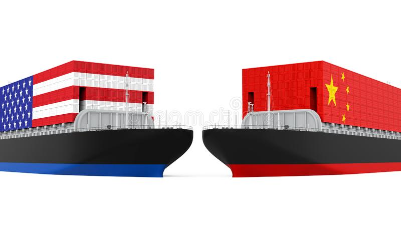 Naves del contenedor para mercancías de Estados Unidos y de China aisladas Concepto de la guerra comercial stock de ilustración