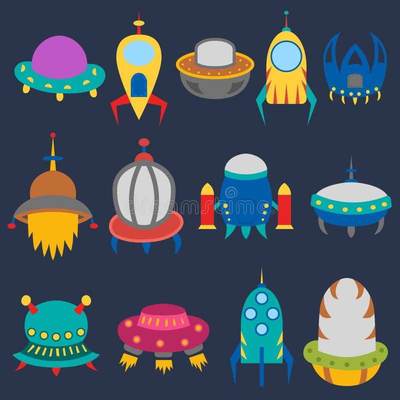 Naves espaciais do estrangeiro dos desenhos animados do vetor ilustração stock