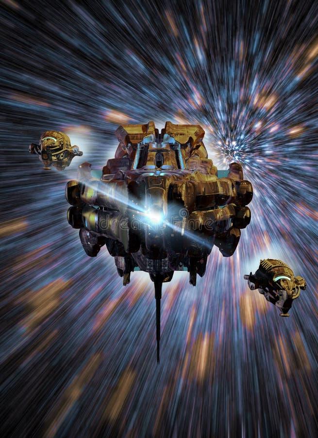 Naves espaciais na luz-velocidade ilustração stock