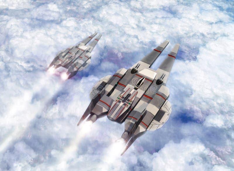 Naves espaciais na patrulha ilustração do vetor