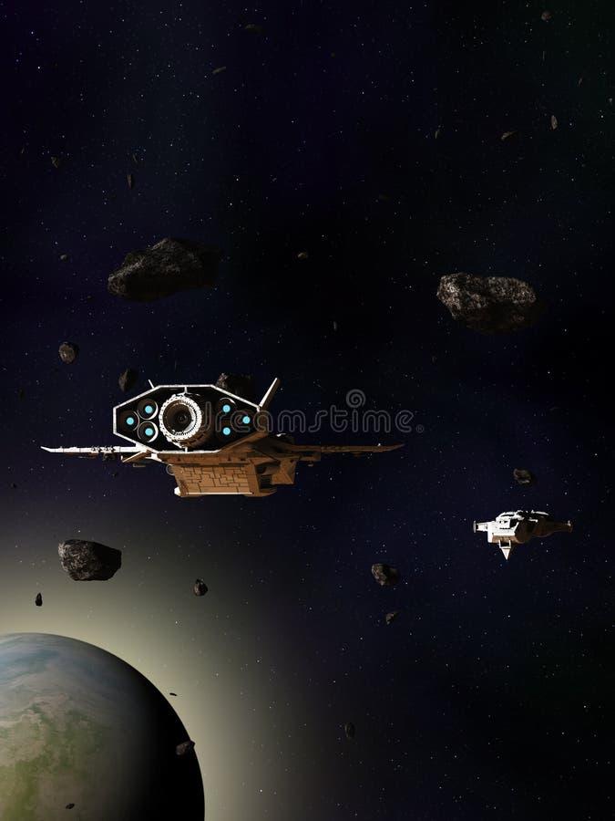 Naves espaciais que viajam através de um campo asteroide acima de um planeta do verde azul ilustração do vetor