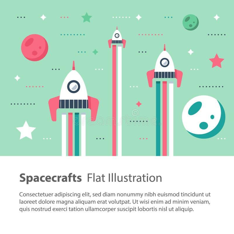 Naves espaciais que voam no espaço entre estrelas e planetas, ilustração lisa das crianças ilustração stock