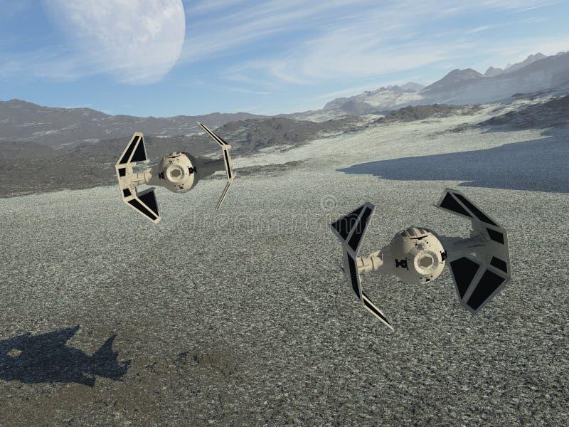 Naves espaciales en patrulla ilustración del vector