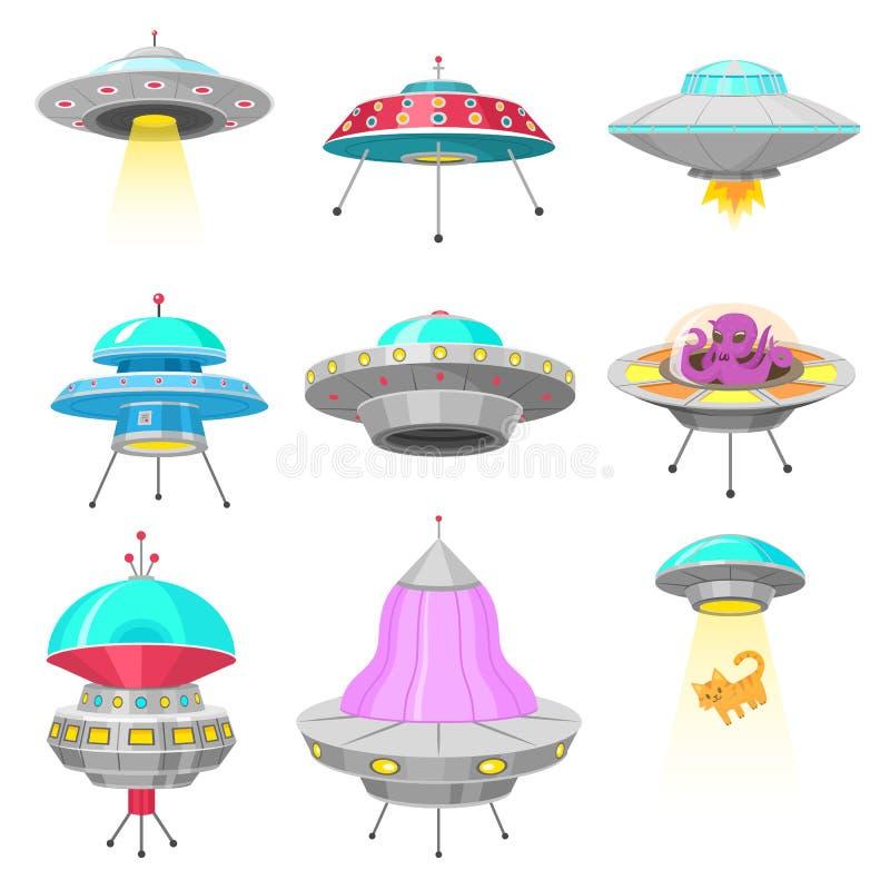 Naves espaciales extranjeras, sistema de objeto de vuelo no identificado del UFO, cohetes fantásticos, naves espaciales cósmicas  ilustración del vector