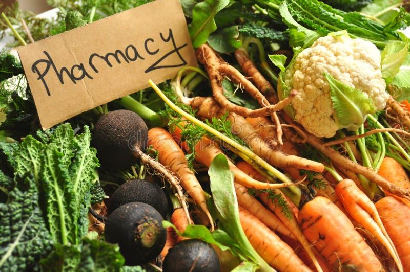 Vrai, aliment biologique en tant que notre pharmacie, médecine image libre de droits