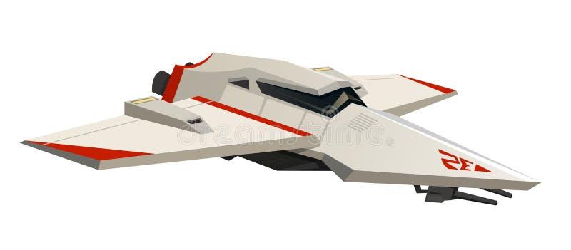 Navetta spaziale o nave di volo per i giochi ed il cellulare Tecnologia moderna del futuro Spazio d'esplorazione dell'astronauta  illustrazione di stock