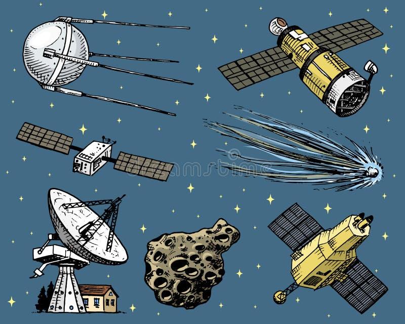 Navetta spaziale, radiotelescopio e cometa, asteroide e meteorite, esplorazione dell'astronauta inciso disegnato a mano in vecchi illustrazione vettoriale