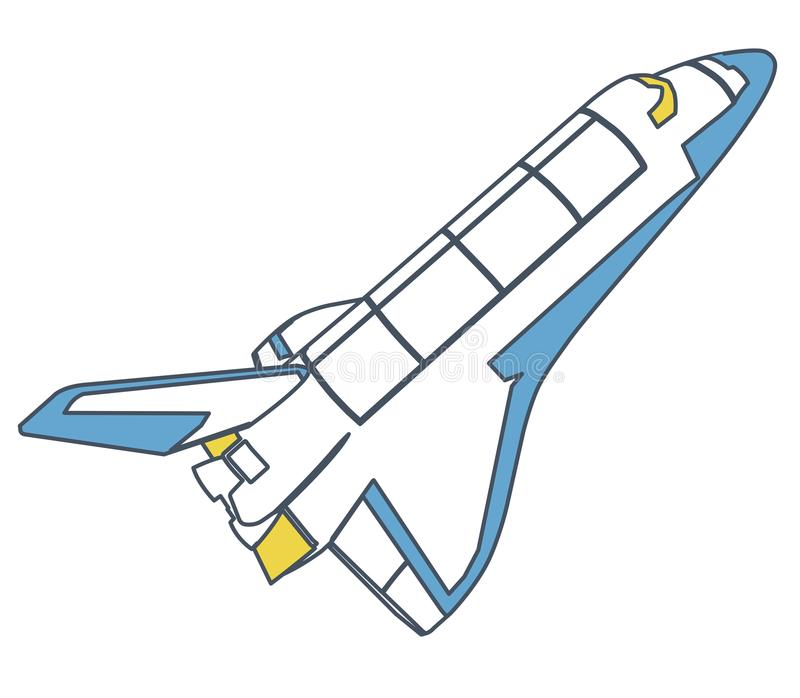 Navette spatiale décrite, découverte d'univers Spaceshuttle flighting de vecteur bleu jaune illustration de vecteur