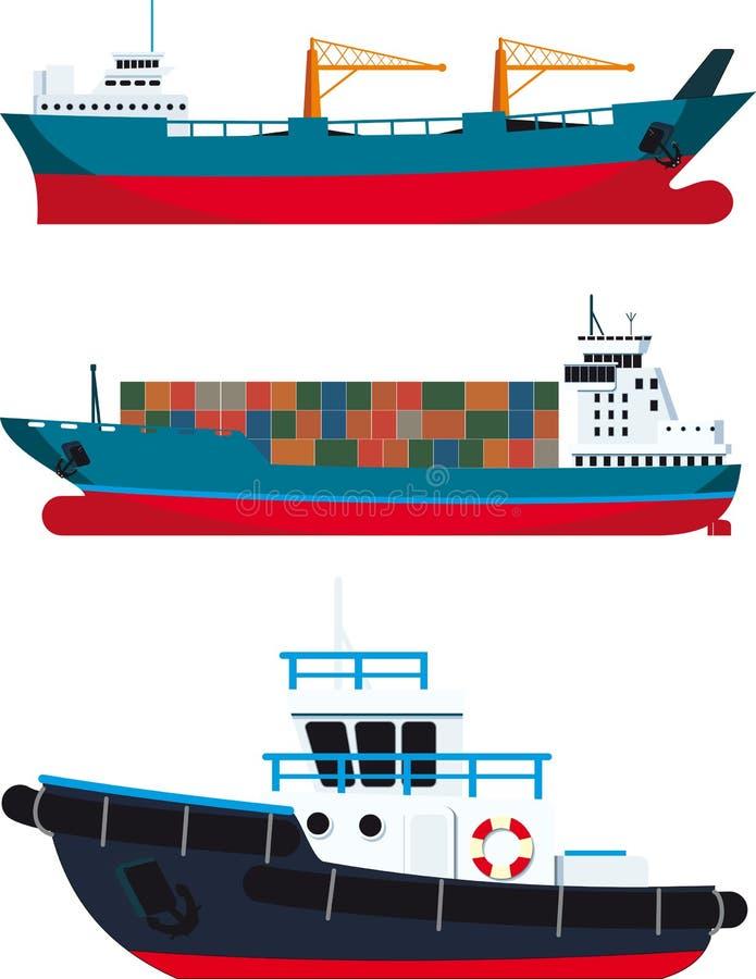 Navi da carico e rimorchiatore illustrazione di stock