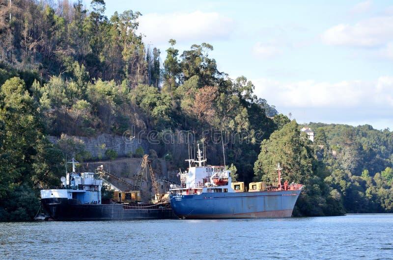 Navi da carico in fiume il Duero immagine stock libera da diritti