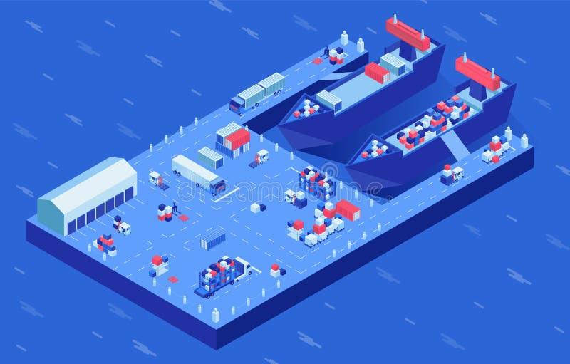 Navi del trasporto nell'illustrazione isometrica di vettore del porto Trasporto marino e via terra industriale di processo di car royalty illustrazione gratis