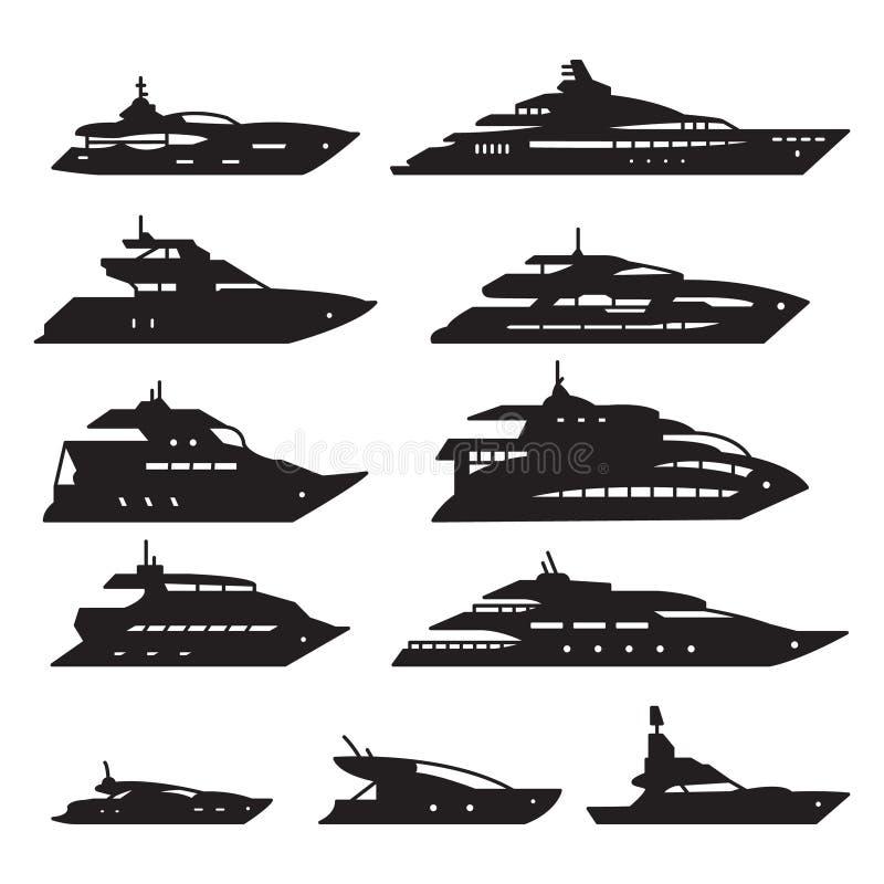 Navi e barche messe, insieme dell'icona dell'yacht Vettore illustrazione vettoriale